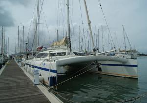 catamaran Freydis 49 Vaovao marina de Mindelo pour le stage performance transat